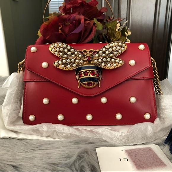 17 Off Gucci Handbags New Gucci Broadway Bee Red Mini